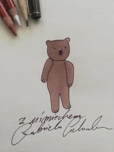 Niedźwiedź z autografem Gabrieli Cichowskiej